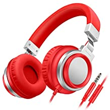 Sound Intone I8 Over-Ear Headphones with Microphone Bass Stereo Lightweight Adjustable Headsets for iPhone iPad iPod Android Smartphones Laptop Mp3 (Red)