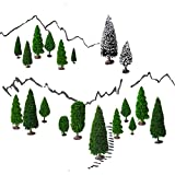 Mixed Model Trees with Base, OrgMemory Diorama Models, Model Train Scenery, Architecture Trees, (19pcs, 2-6 inch /5-15 cm), Ho Scale Trees