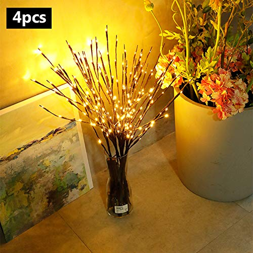 (Allytech 4 Pack LED Branches Lights - Pretty Nice Artificial Willow Twig Lights Warm White Battery Powered for Wedding Party Home Garden Bedroom Outdoor Indoor Wall Decorations-06-4 Warm)