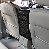 Car Mesh Net, MAXTUF 3-Layer Universal Car Seat Storage Organizer with 4 Hooks Elastic Seat Back Net Barrier Cargo Holder fit Phone Bottle Books Kids Pets