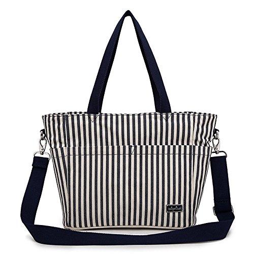 Bolso de la momia, bolso de hombro, madre fuera del paquete, paquete de las mujeres embarazadas, bolsos maternos e infantiles, bolsas de compras impermeables ( Color : Blue flowers ) Sapphire blue stripes