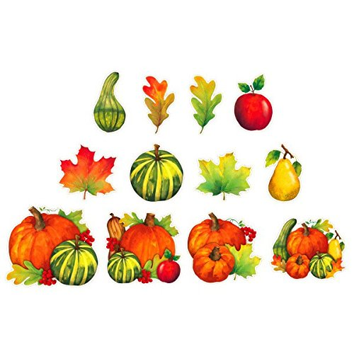 Thanksgiving Cut Out Decorations (Autumn Harvest Thanksgiving Party Assorted Cutouts Decoration, Paper, Pack of 12)