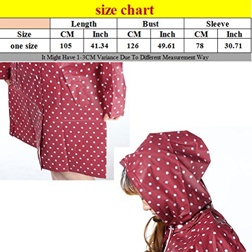 Zhhlaixing Outdoor Travel Portable Women Fashion Dots Waterproof Raincoat Red