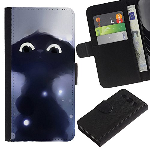 Billetera de Cuero Caso Titular de la tarjeta Carcasa Funda para Samsung Galaxy S3 III I9300 / Drawing Cat Black Cute Eyes Painting / STRONG