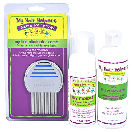 Lice Free Treatment Kit for Kids - Nit Removal Comb, Dimethicone Oil, and Foam Mousse | Natural Pesticide-Free Non Toxic Way to Remove Bugs and Eggs in Hair I Treats 1-2 Children (Best Way To Remove Lice Nits)
