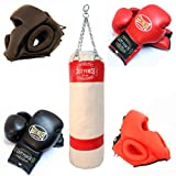 2 Pairs Of Pro 14oz Torino Boxing Gloves & 2 Pairs Of Head Gear & Black Heavy Duty Canvas Punching Bag