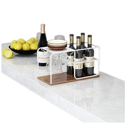 JASNO Mostrador De Vino Y Portavasos De Encimera, Estante De Metal Goblet Stemware Organizador De