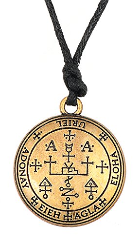 (Gothic Sigil of Archangel Uriel Chain Talisman Amulet Angel Rope Chain Vintage Jewelry for Men (gold tone))