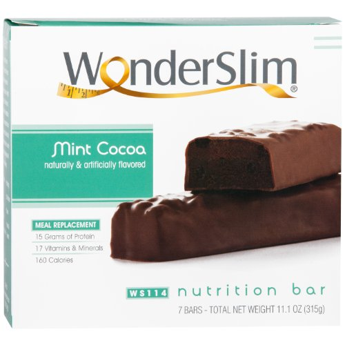 WonderSlim High Protein Meal Replacement Bar / Meal Replacement - High Fiber, Kosher, Mint Cocoa (7 Count)