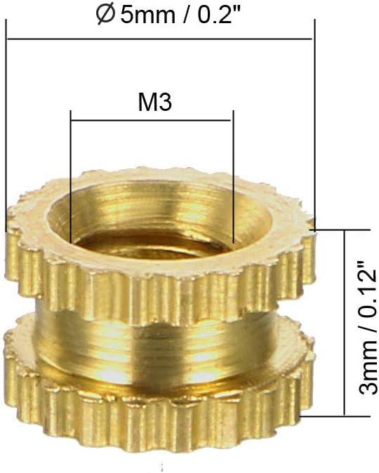 sourcing map 100 St/ück R/ändelschrauben mit Gewindeeins/ätzen M3 x 12mm L Messing OD x 4mm