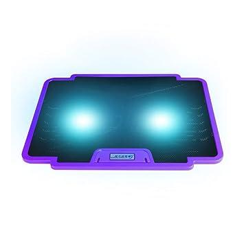 Yiruy COOLCOLD Ventilador Doble Luz LED Pad de Enfriamiento Silencioso Soporte Antideslizante Soporte de Montaje Disipador Ordenador portátil Ordenador ...