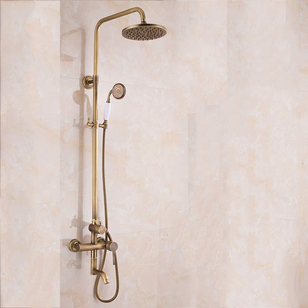GZF Handheld Showers,Shower kit, retro European style, regular base wall mount, multi-function, copper, bathroom shower