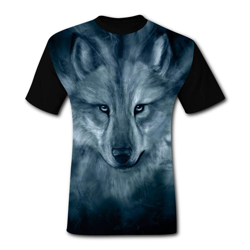 Mens 3D Printed Casual T-Shirt Fantasy Smoke Wolf Paint Short Sleeve Summer Stylish Tees