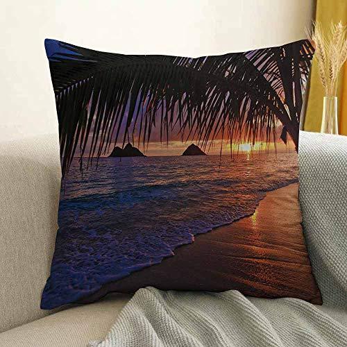 FreeKite Hawaiian Silky Pillowcase Pacific Sunrise at Lanikai Beach Hawaii Sandy Tropics Hills Leaves Landmark Super Soft and Luxurious Pillowcase W24 x L24 Inch Purple Bronze (Piano Trends Pacific)