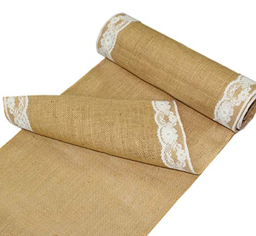 COTTON CRAFT – 2 Pack – Jute Burlap with Lace Table Runner – 12 in. x 108 in. Each – 6 Yards Total – Rustic Hessian…