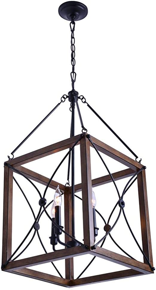Open Cage 4 Light Painted Wood With Vintage Black Pendant Amazon Com