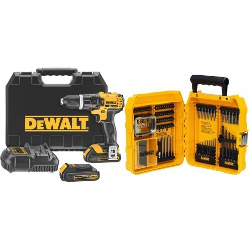 DEWALT 20V MAX Lithium-Ion Hammer Drill/Driver Kit with 80-Piece Professional Drilling/Driving Set