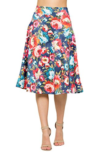 Junky Closet Womens A Line Knee Length High Waisted Skirt (Made in USA)