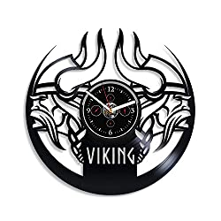 HandmadeCorp Viking Wall Clock Vintage Vinyl Record Retro Wall Clock Viking Wall Art Exclusive Wall Clock 12 Inch for Husband Birthday Gift Viking Gift New Year Gift Viking Vinyl Clock
