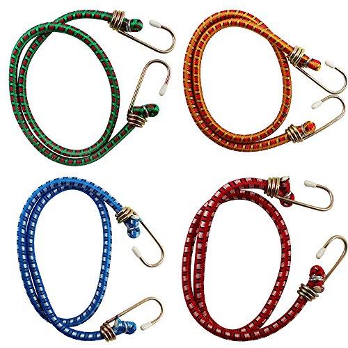 COM-FOUR® 4er Set Spanngummi mit 2 Haken, 60cm, rot grün blau orange, Gepäckspanner