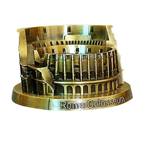 PROW Metal Rome Colosseum Model Retro Bronze Ancient Architecture Handmade Craft Home Desktop Décor Collectible Artificial World Famous Buildings Sculpture
