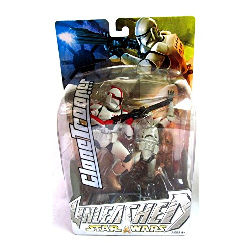 Star Wars Year 2003 Unleashed 7 Inch Tall Action Figure - Variant Red Striped Clone Trooper with Blaster Rifle and Diorama Display Base (Unleashed Clone)