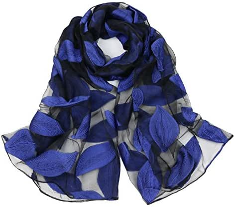DreamBeauty Silk Scarves for Women 100% Silk Scarves with Leaves Printing Wrap and Shawls