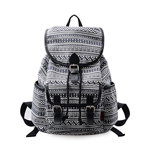 DGY Black Canvas Floral Printed Backpack 3 Pieces School Rucksack for Teen Girls (Geometric 1 Pc)