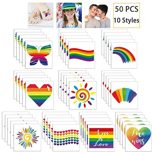 Hartop 50 PCS Rainbow Tattoos Rainbow Stickers Temporary Waterproof Tattoos for Pride Parades and Celebrations