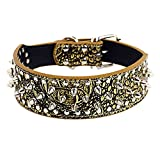 Hpapadks Studded Dog Collar Pet Collar, Dog Puppy Pet Collars Necklace Personalized Leather Dog Collars Wide Dog Collars
