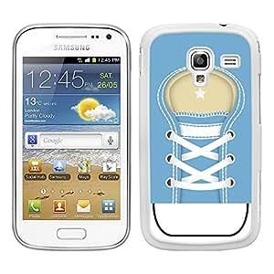 Funda carcasa para Samsung Galaxy Ace 2 diseño zapatilla cordones color azul borde blanco