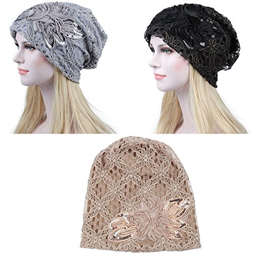 Fashionsupermarket 3pcs Auto Winter Chemo Cap Slouchy Beanie Hat, Double Layer Lace Cotton Knit, Lightweight Cancer ()