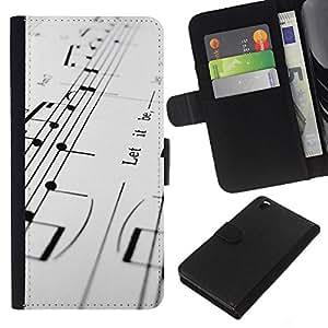 Stuss Case / Funda Carcasa PU de Cuero - Notas musicales - HTC DESIRE 816
