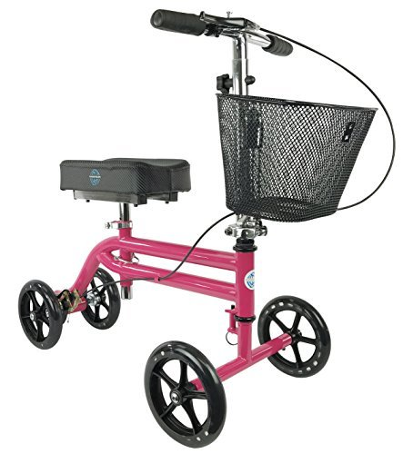 - KneeRover Steerable Knee Scooter Knee Walker Crutch Alternative in HOT PINK