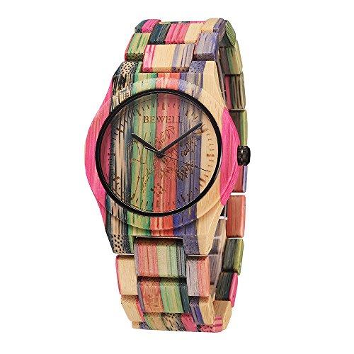 Women Watches Bewell Unisex Design Handmade Natural Colorful Bamboo Wooden Watch Analog Quartz Wrist Watch (Rose red)