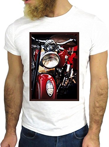 T-SHIRT JODE GGG24 HZ0341 MOTORCYCLE FLAG FUN COOL VINTAGE ROCK FUNNY FASHION CARTOON NICE AMERICA BIANCA - WHITE S