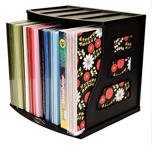 Stackable Vinyl Record Storage Rack 12'' LP Holder Organizer Over 75 Albums Ring Binder Stand Lever Arch Crate 12x12 Paper Storage Rack Magazine Holder Shelf Cube Box by Binder Way (Image #6)
