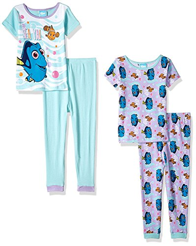 [Finding Dory Nemo Girls 4 piece Pajamas Set (18 Months, Sea Ya Aqua/Multi)] (Dory And Nemo Costumes)