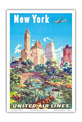 Bridge South Park (New York, USA - Gapstow Bridge at Central Park South Pond, Manhattan - United Air Lines - Vintage Airline Travel Poster by Joseph Fehér c.1940s - Master Art Print - 12in x 18in)