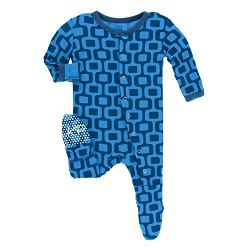 Kickee Pants Little Boys Print Footie with Snaps - Ipanema, 6-9 Months