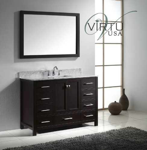 Virtu Usa Gs 50048 Wmsq Es Caroline Avenue Single Square Sink Vanity In Espresso With Marble Vanity Top In Italian Carrera And Mirror  48 Inch  Dark Wood
