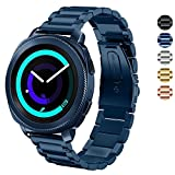 DELELE Samsung Gear Sport / S2 Classic Watch Band, Solid Stainless Steel Metal Business Replacement Bracelet Strap for Samsung Gear Sport/Gear S2 Classic Smartwatch Women Men (Blue)
