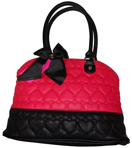Betsey Johnson Purse Handbag Be Mine Dome Satchel Fuchsia/black