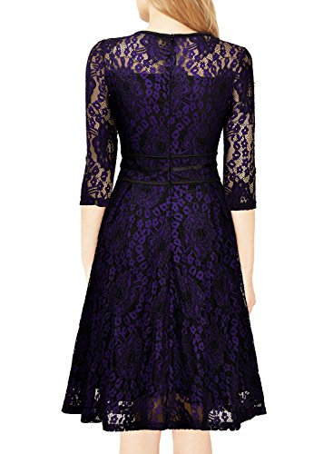 Dress Floral Party Evening Lace and Women's Miusol Purple Vintage Cocktail Black O0WTqTPwAn