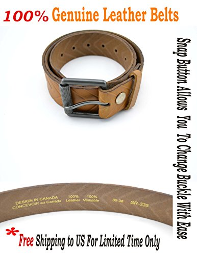 [Men's Genuine Cowhide Leather Belt Snap Button Metal Changeable Buckle] (Changeable Buckle)
