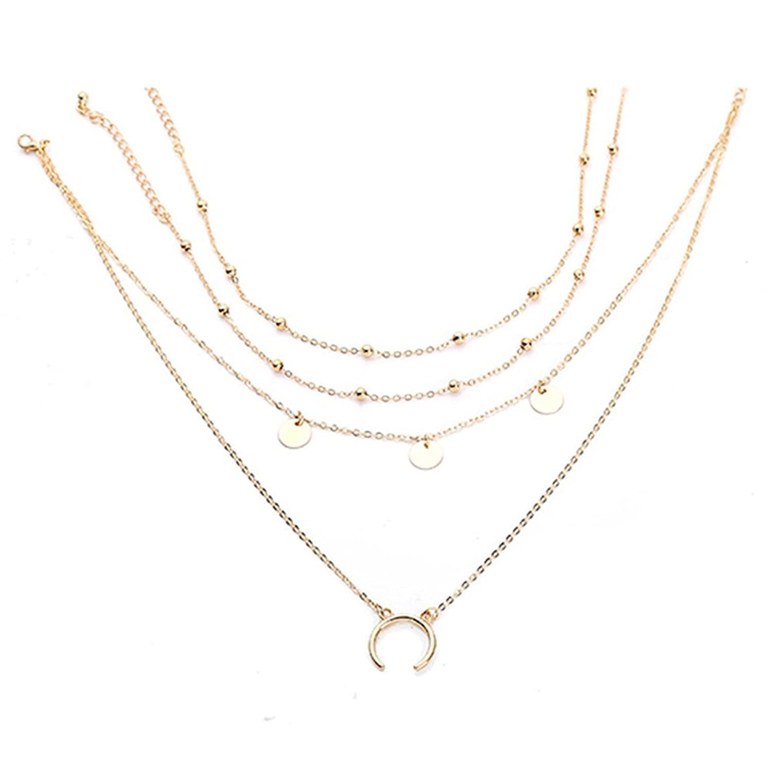 Women Simple Silver Gold Opal Stone Beads Clavicle Chain Necklace Party Jewelry