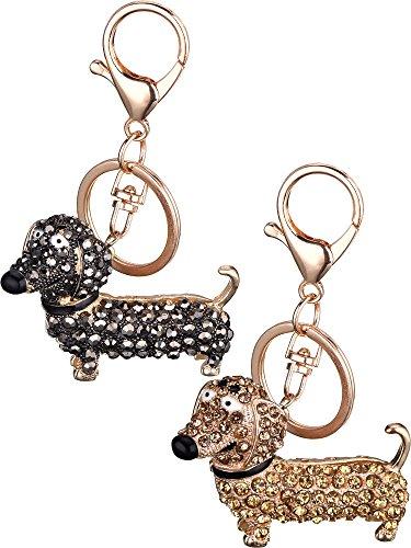 Mtlee 2 Pieces Dachshund Crystal Dog Keychain Handbag Purse Car Pendant Decor ()