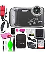 $229 » Fujifilm FinePix XP140 Waterproof Digital Camera (Dark Silver) Accessory Bundle with 32GB SD Card + Small Camera Case + Floating Wrist Strap + Deluxe Cleaning Kit + More