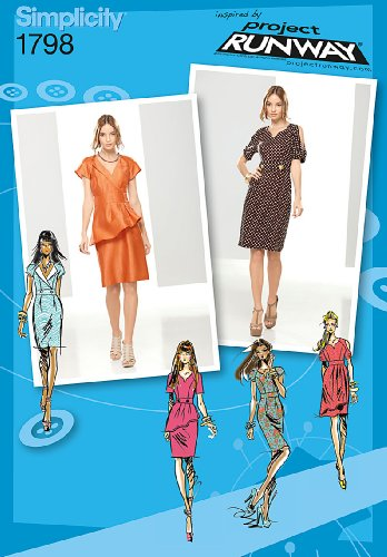 Simplicity Project Runway Collection 1798 Misses Dress Sewing Pattern, Size D5 (4-6-8-10-12) (Princess Sew Dress)