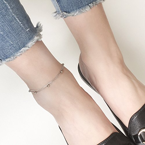 TKHNE s925 fine silver women girls models jewelry foot foot ball ornaments women girls birthday gift personalized simple double Foot Chain anklet ankle chain]()